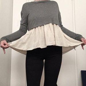 Wilfred Tops - Wilfred Grey Tshirt with Silk Peplum Bottom
